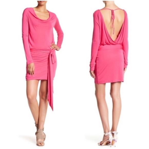 Haute Hippie Open Back Hot Pink Cowl Dress